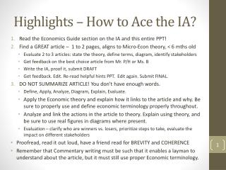 Highlights – How to Ace the IA?
