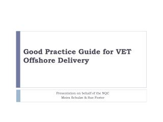 Good Practice Guide for VET Offshore Delivery