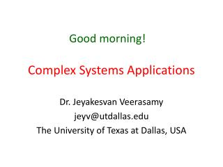 Complex  Systems Applications