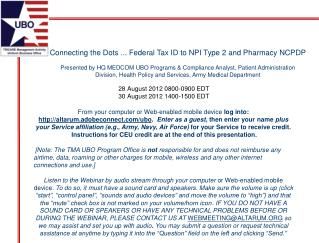 Connecting the Dots ... Federal Tax ID to NPI Type 2 and Pharmacy NCPDP