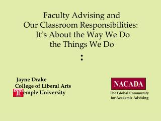 Faculty Advising and Our Classroom Responsibilities: It's About the Way We Do the Things We Do :