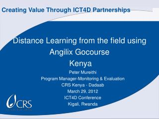 Distance Learning from the field using  Angilix Gocourse  Kenya