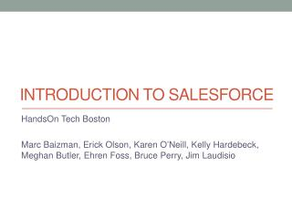 Introduction to  Salesforce