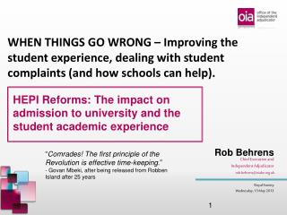 HEPI Reforms: The impact on admission to university and the student academic experience