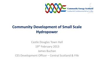 Community Development of Small Scale Hydropower