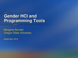 Gender HCI and  Programming Tools