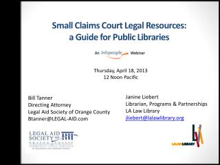 Small Claims Court Legal Resources:  a  Guide for Public Libraries