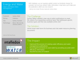 The Challenge Sydney Water  needed  a new way to tailor publications to meet