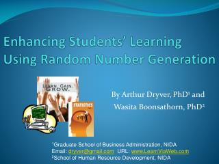 Enhancing Students' Learning Using Random Number Generation