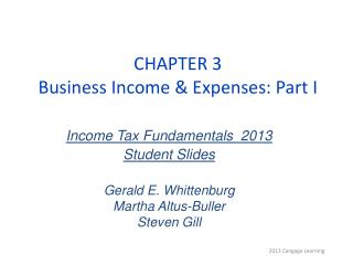 CHAPTER 3 Business Income & Expenses: Part I