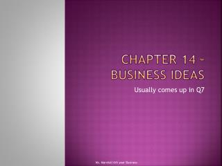 Chapter 14 – Business Ideas