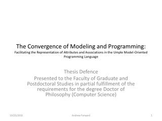 The Convergence of Modeling and Programming : Facilitating  the Representation of Attributes and Associations in the Ump