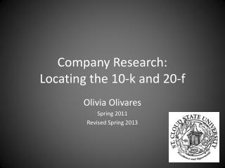 Company Research:  Locating the 10-k and 20-f