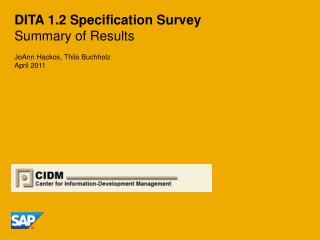 DITA 1.2 Specification Survey Summary of Results