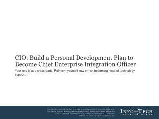 CIO:  Build a Personal Development Plan to  Become  Chief Enterprise Integration Officer