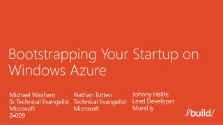 Bootstrapping Your Startup on Windows Azure