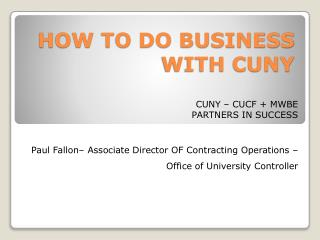 HOW TO DO BUSINESS WITH CUNY