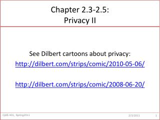 Chapter 2.3-2.5:  Privacy II