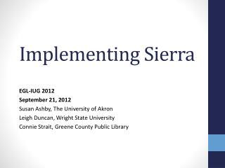 Implementing Sierra