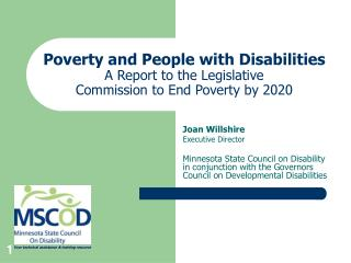 Joan Willshire Presentation: Disability and Poverty