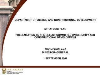 DEPARTMENT OF JUSTICE AND CONSTITUTIONAL DEVELOPMENT STRATEGIC PLAN