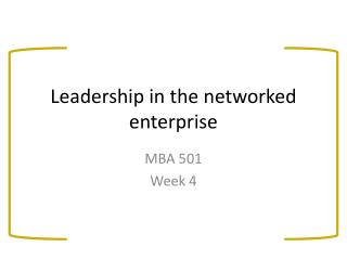 Leadership in the networked enterprise