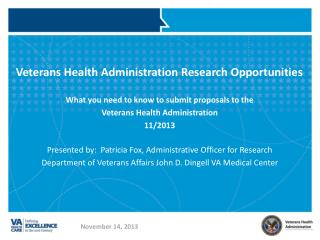 Veterans Health Administration Research Opportunities