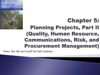 Chapter 5: Planning Projects, Part II (Quality, Human Resource, Communications, Risk, and Procurement Management)