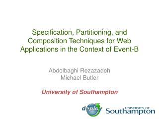 Specification, Partitioning, and Composition Techniques for Web Applications in the Context of Event-B