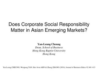Does Corporate Social Responsibility Matter in Asian Emerging Markets?