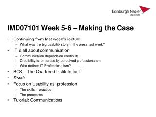IMD07101 Week 5-6 – Making the Case