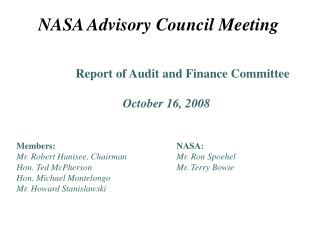 NASA Advisory Council Meeting