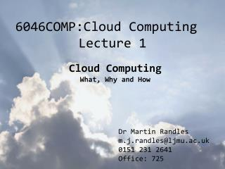 6046COMP:Cloud Computing Lecture 1