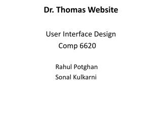 Dr. Thomas Website