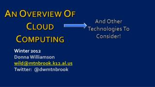 An Overview Of  Cloud Computing