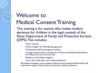 Welcome to  Medical Consent Training