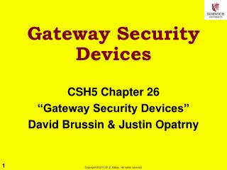 Gateway Security Devices