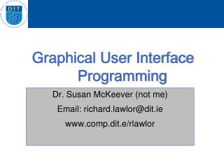 Graphical User Interface Programming