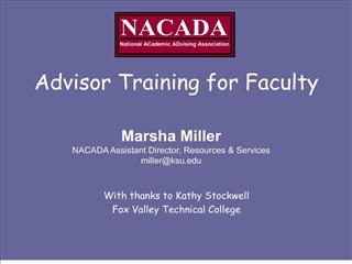 Advisor Training for Faculty