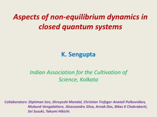Aspects of non-equilibrium dynamics in closed quantum systems