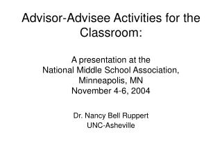 Dr. Nancy Bell Ruppert UNC-Asheville