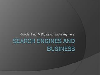 Search engines and business
