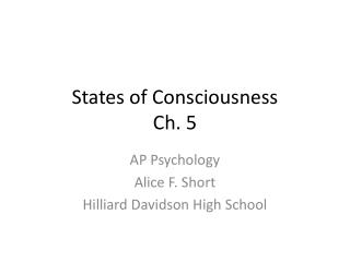 States of Consciousness Ch. 5