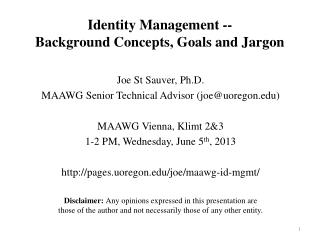 Identity  Management -- Background Concepts, Goals and Jargon