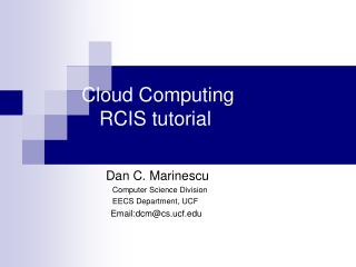 Cloud Computing       RCIS  tutorial