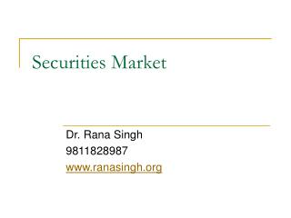 Securities Market