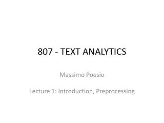 807 - TEXT ANALYTICS