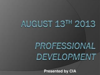 August 13 th  2013 Professional  development