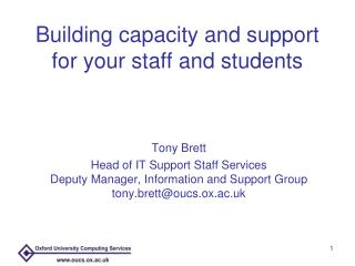 Building capacity and support for your staff and students