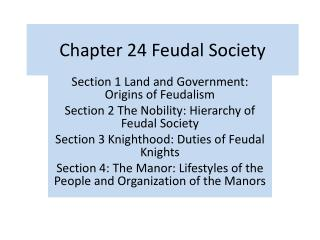 Chapter 24 Feudal Society